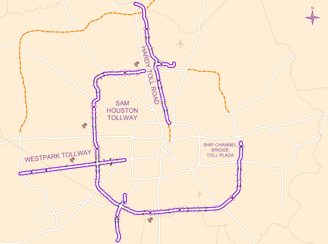 Map of the HCTRA toll road system, including hte Hardy Toll Road, Sam Houston Tollway, Westpark Tollway and Fort Bend Tollway